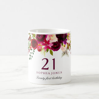 Burgundy Red Floral Boho 21st Birthday Gift Coffee Mug