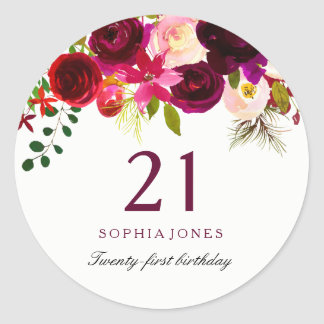 Burgundy Red Floral Boho 21st Birthday Party Classic Round Sticker