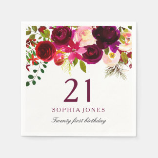 Burgundy Red Floral Boho 21st Birthday Party Disposable Napkin