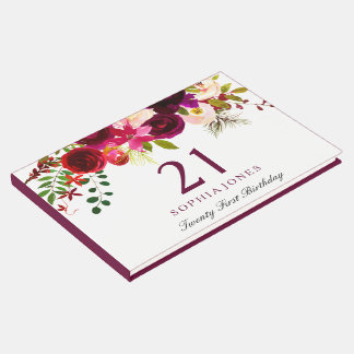 Burgundy Red Floral Boho 21st Birthday Party Guest Book