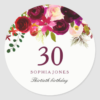 Burgundy Red Floral Boho 30th Birthday Party Classic Round Sticker
