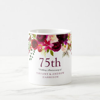 Burgundy Red Floral Boho 75th Wedding Anniversary Coffee Mug