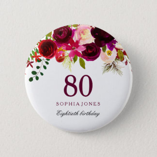 Burgundy Red Floral Boho 80th Birthday Party 6 Cm Round Badge