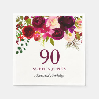 Burgundy Red Floral Boho 90th Birthday Party Paper Napkins