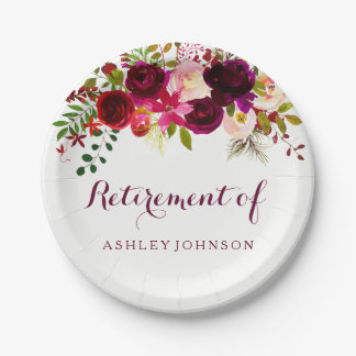 Burgundy Red Floral Boho Retirement Party Paper Plate