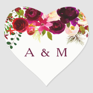Burgundy Red Floral Boho Wedding LoveHeart Sticker