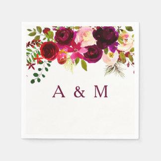 Burgundy Red Floral Boho Wedding reception napkin Paper Napkin
