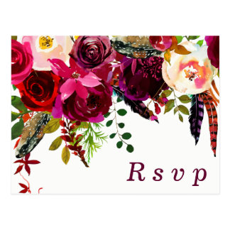 Burgundy Red Floral Boho Wedding RSVP postcard