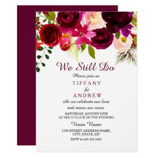 Burgundy Red Floral Boho Wedding Vow Renewal Card