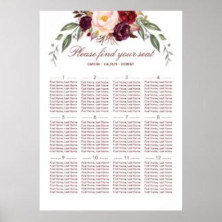 Burgundy Red Floral Elegant Wedding Seating Chart