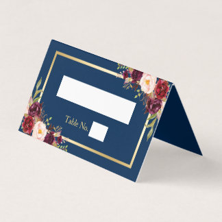 Burgundy Red Floral Navy Blue Gold Frame Wedding Place Card