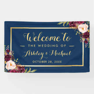 Burgundy Red Floral Navy Blue Gold Wedding Party Banner