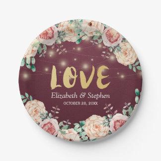 Burgundy Red Floral String Lights Wedding Shower Paper Plate