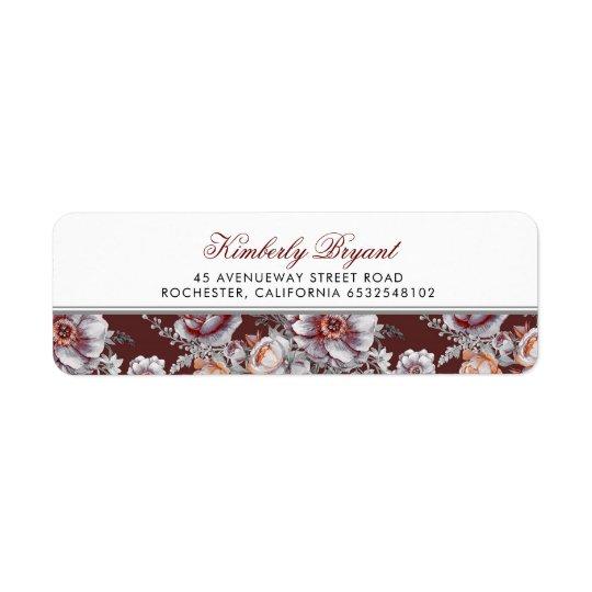 Burgundy Red Floral Vintage Return Address Label