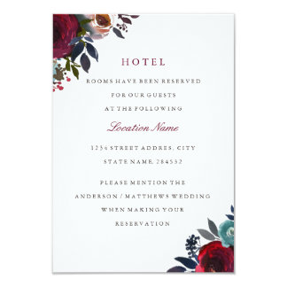 Burgundy Red Floral Wedding Hotel Accommodation Card