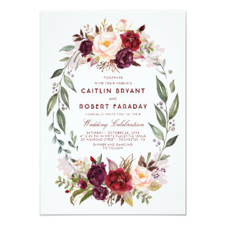 Burgundy Red Floral Wreath Elegant Rustic Wedding Card