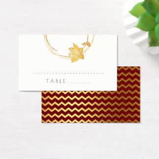 Burgundy Red Flower Gold Chevron Stripe Table Card
