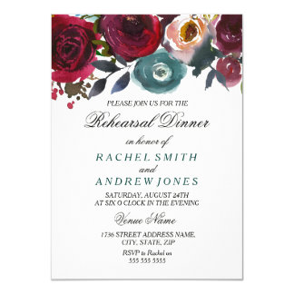 Burgundy Red Flower Wedding Rehersal Dinner Invite