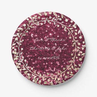 Burgundy Red Glitter Foxier Gold Wreath Garland Paper Plate