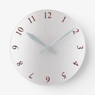 Burgundy Red Glitter Gray Silver US UK Time Round Clock