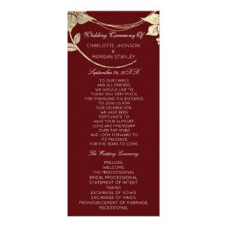 Burgundy Red  Gold Floral Event Wedding Program1 Rack Card