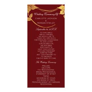 Burgundy Red  Gold Floral Event Wedding Program Rack Card