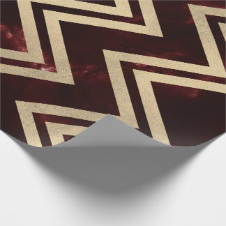 Burgundy Red Gold Marble Zig Zag Chevron Lines Wrapping Paper