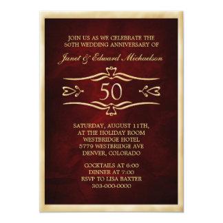 Burgundy Red Golden Anniversary Celebration 13 Cm X 18 Cm Invitation Card
