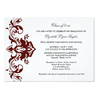 Burgundy Red Graduation Announcement Burgundy Red