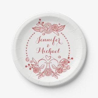 Burgundy Red Lovebirds Floral Wreath Wedding Party 7 Inch Paper Plate