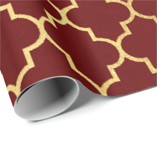 Burgundy Red Maroon Golden Quatrefoil Art Deco Wrapping Paper