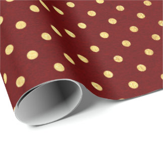 Burgundy Red Maroon Golden Small Polka Dots Wrapping Paper