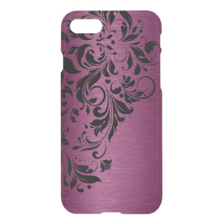 Burgundy Red Metallic Texture & Black Lace iPhone 8/7 Case