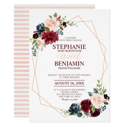 Burgundy Red Navy Floral modern geometric wedding Card