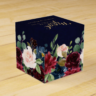 Burgundy Red Navy Floral Rustic Boho Wedding Favour Box
