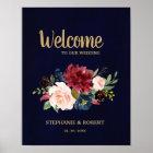 Burgundy Red Navy Floral Rustic Boho Wedding Sign