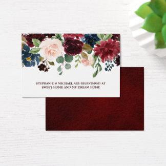 Burgundy Red Navy Floral Rustic Wedding Registry Business Card