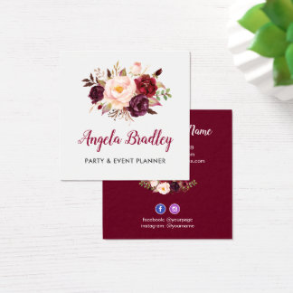 Burgundy Red Pink Floral Rustic Chic Personal Square Business Card