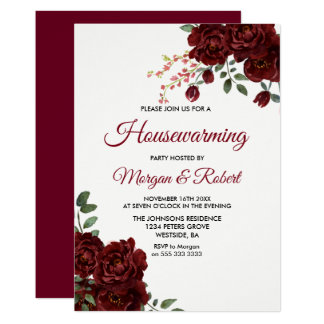 Burgundy Red Rose Floral Housewarming Party Invite
