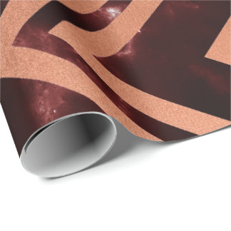 Burgundy Red Rose Gold Marble Zig Zag Chevron Wrapping Paper