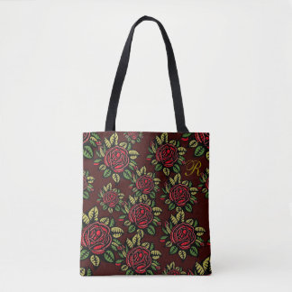Burgundy Red Roses Black Designer Inspired Tote