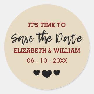 Burgundy Red | Save Date Shabby Chic Heart Wedding Round Sticker