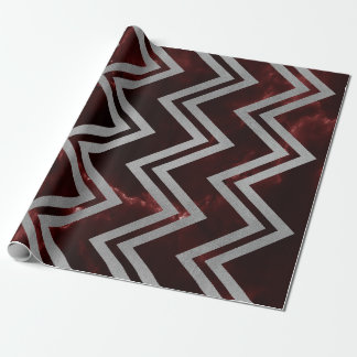 Burgundy Red Silver Marble Zig Zag Chevron Lines Wrapping Paper