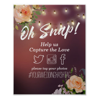 Burgundy Red String Lights Oh Snap Hashtag Wedding Poster