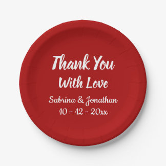 Burgundy Red Thank You Wedding Party Country Paper Plate