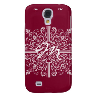 Burgundy Red Vintage Monogram Business Galaxy S4 Case