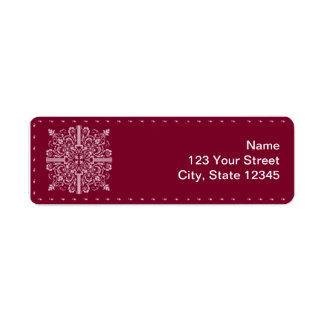 Burgundy Red Vintage Monogram Business Return Address Label