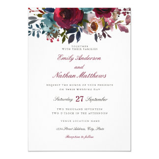 Burgundy Red Watercolor Floral Wedding Invitation