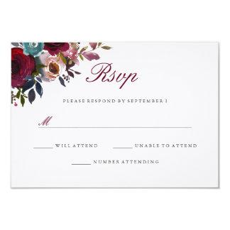 Burgundy Red Watercolor Floral Wedding RSVP Card