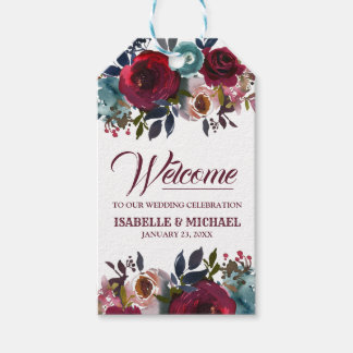 Burgundy Red Watercolor Flroal Wedding Welcome Gift Tags